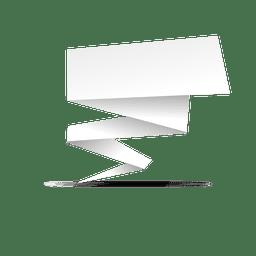 Banner cuadrado de origami blanco