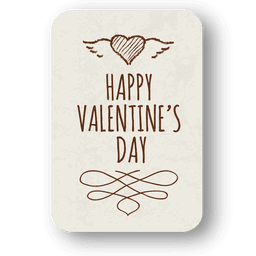 Ornamented valentine day label