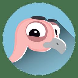 Ícone de círculo de desenhos animados de avestruz
