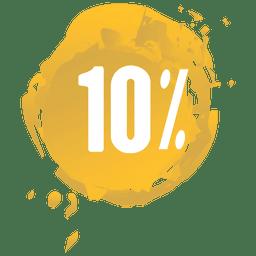 Etiqueta de venta de salpicaduras de pintura amarilla