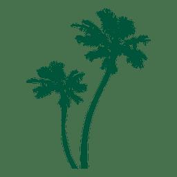 Silhoutte verde de palmeiras
