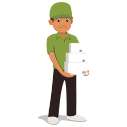 Parcel delivery man cartoon