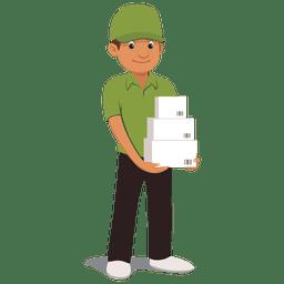 Parcel desenhos animados homem de entrega