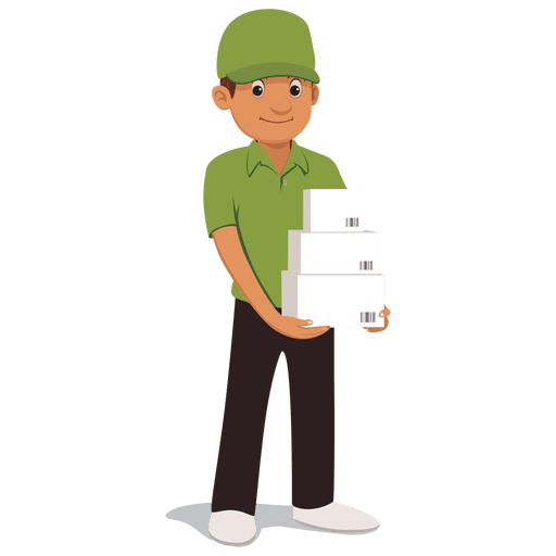 Parcel delivery man cartoon