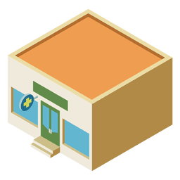 Edifício plano isométrico de farmácia