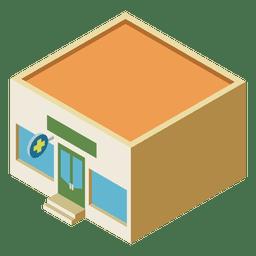 Isometrisches flaches Gebäude der Apotheke