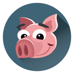 Pig cartoon circle character