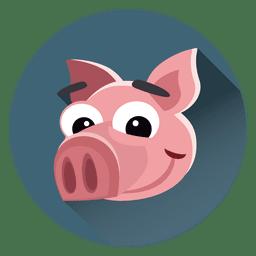 Pig personagem de desenho animado círculo
