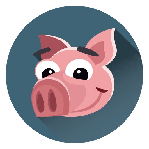 Pig cartoon circle character