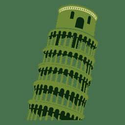 Dibujo de dibujos animados de la torre de Pisa