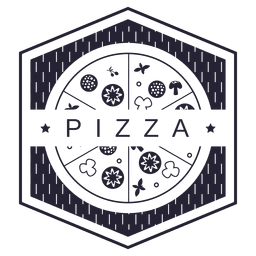 Pizza logotipo hexagonal