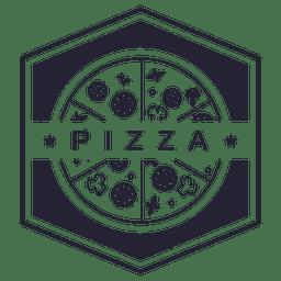 Pizza sechseckiges Logo