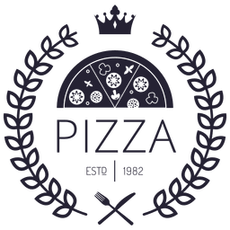 Pizza logotipo com coroas
