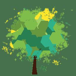 árbol verde salpicado poligonal