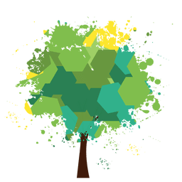 Polygonal green splashed tree
