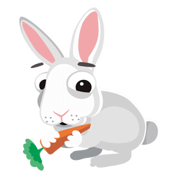 Rabbit eating carrot cartoon