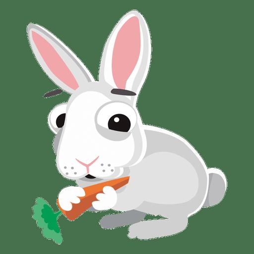 Rabbit eating carrot cartoon