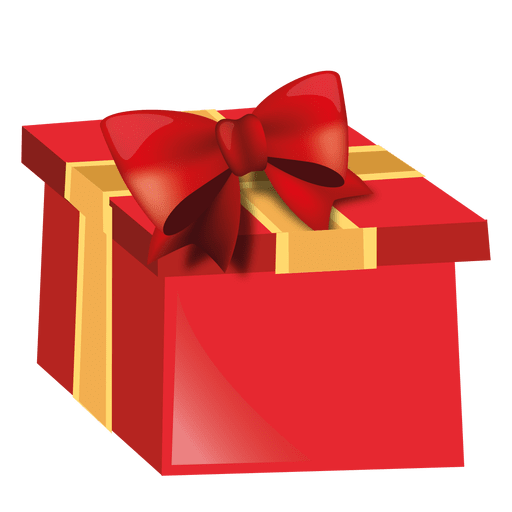 Red 3d christmas giftbox Transparent PNG