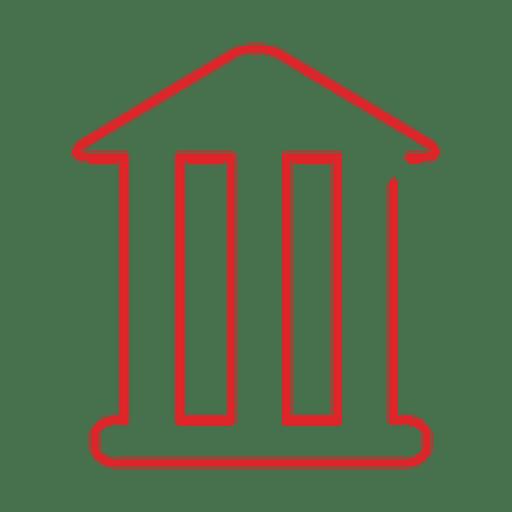 Línea de edificio del banco rojo icon.svg
