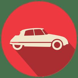 Carro retrô de círculo vermelho