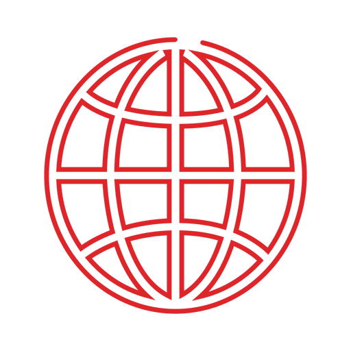 Red globe line icon.svg Transparent PNG