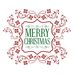 Red ornate green christmas emblem