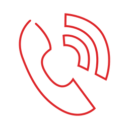 Red phone ring line icon.svg