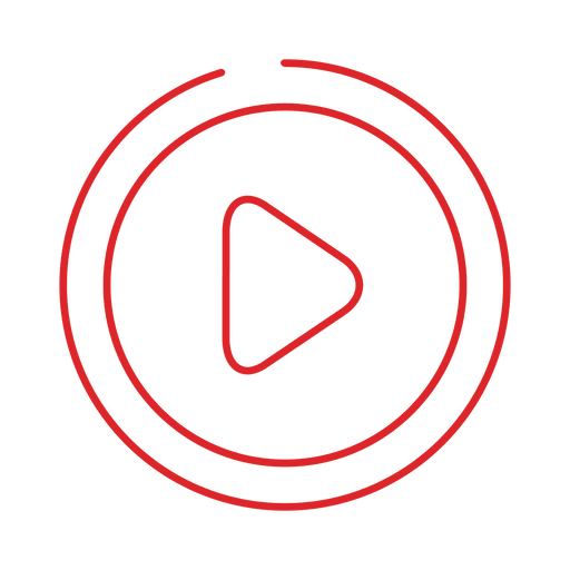 Red play line icon.svg Transparent PNG