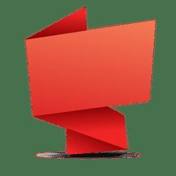 Banner rectangular rojo de origami