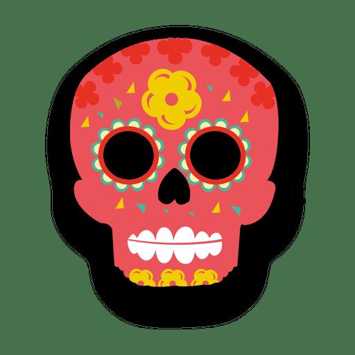 Red sugar skull decoration Transparent PNG
