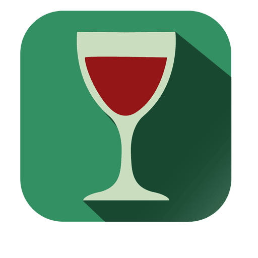 Red wine square icon with drop shadow Transparent PNG