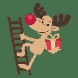 Reindeer cartoon climbing ladder