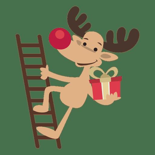 Reindeer Cartoon Climbing Ladder Transparent Png Amp Svg