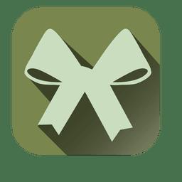 Icono cuadrado de arco de cinta con sombra