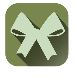 Ribbon bow square icon with drop shadow