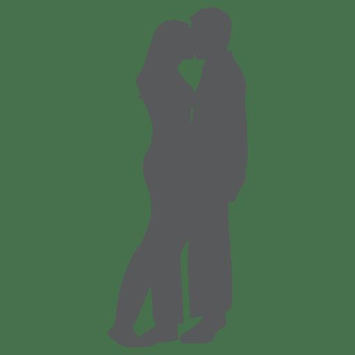 Par romântico, beijando, silueta, em, cinzento Transparent PNG