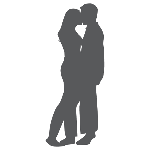 Romantic couple kissing silhouette in gray Transparent PNG