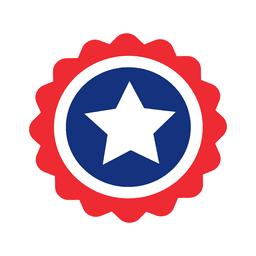 Round star usa flag label