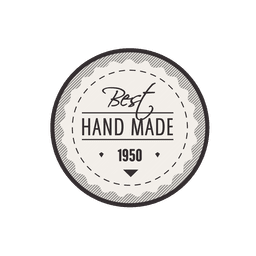 Rounded handmade vintage label