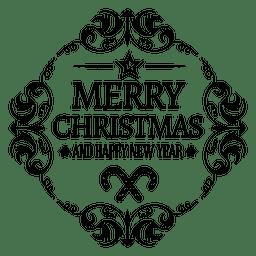 Gerundetes Weihnachts-Logo des neuen Jahres