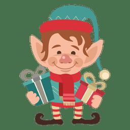 Santa boy holding gifts