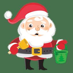 Desenhos animados de Papai Noel carregando balde de sino