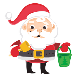 Santa cartoon carrying bell bucket