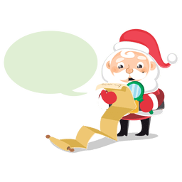 Santa checking list cartoon bubble