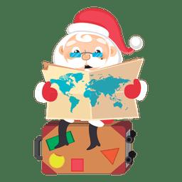 Papá Noel revisando caricatura de mapa
