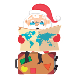 Santa checking map cartoon