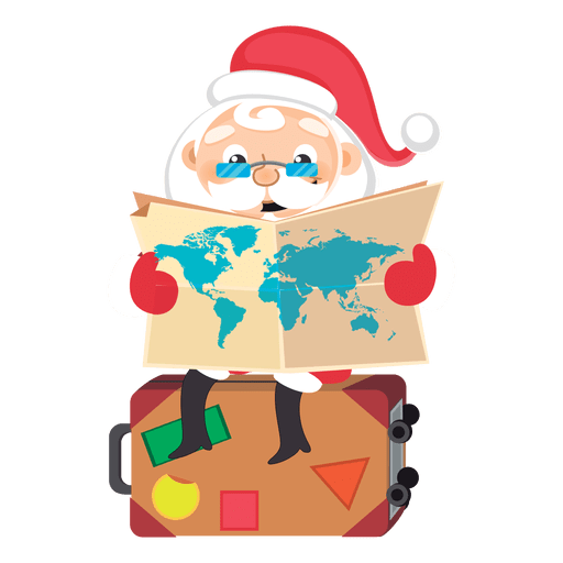 Santa checking map cartoon Transparent PNG