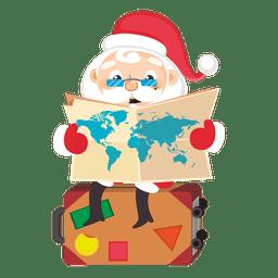 Papai Noel segurando mapa