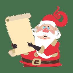Papá Noel sosteniendo pergamino