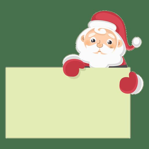 Santa claus holding text board